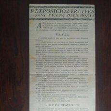 Coleccionismo: 1º EXPOSICIÓ DE FRUITES A SANT VICENS DELS HORTS 29 JULIOL 1934.. Lote 222066023
