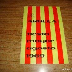 Collectionnisme: PROGRAMA FIESTA MAYOR AGOS 1969 ARBECA LLEIDA. Lote 222189846