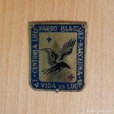 Coleccionismo: PLACA CENTURIA LUIS PARDO DEL FRENTE DE JUVENTUDES. Lote 223406385