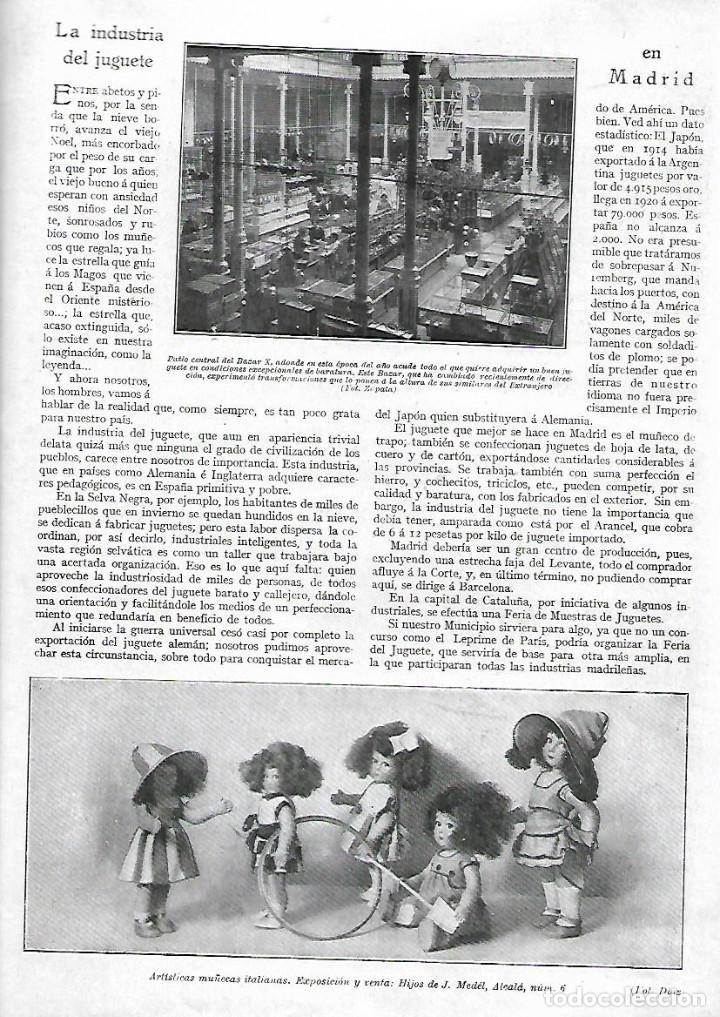 AÑO 1922 RECORTE PRENSA LA INDUSTRIA DEL JUGUETE EN MADRID MUÑECAS ITALIANAS BAZAR X (Coleccionismo - Laminas, Programas y Otros Documentos)