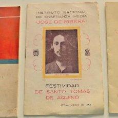 Coleccionismo: LOTE TRES PUBLICACIONES DEL INSTITUTO JOSÉ DE RIBERA DE JÁTIVA (VALENCIA) AÑOS 1951, 1953 Y 1960. Lote 225207270
