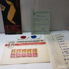Coleccionismo: PROGRAMA IX CONGRESO MAGICO INTERNACIONAL CEDAM 1964 COMPLETO Y SELLOS EN SOBRE DEL ACTO. Lote 225385292