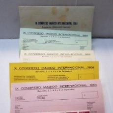 Coleccionismo: IX CONGRESO MAGICO INTERNACIONAL 1964 SOBRE HOJAS DE INSCRIPCIÓN Y RESERVA Y SELLOS DE DICHO ACTO. Lote 225625390