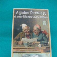 Coleccionismo: ANTIGUO CARTON PUBLICITARIO ALGODON DEWHURST EL MEJOR HILO PARA COSER A MAQUINA.. Lote 227192615