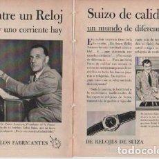 Coleccionismo: ANUNCIO PUBLICIDAD RELOJES DE SUIZA-CUCHILLAS EVERSHARP. Lote 232941405