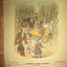Coleccionismo: CASTELLON 1940 FIRESTONE ALMANAQUE ANTIGUO COCHES 4 LAMINAS 8 MESES. Lote 233964750