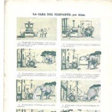 Coleccionismo: AÑO 1903 RECORTE PRENSA LA CAZA DEL ELEFANTE POR ATIZA DIBUJO VIÑETAS HISTORIETA COMIC. Lote 234111390