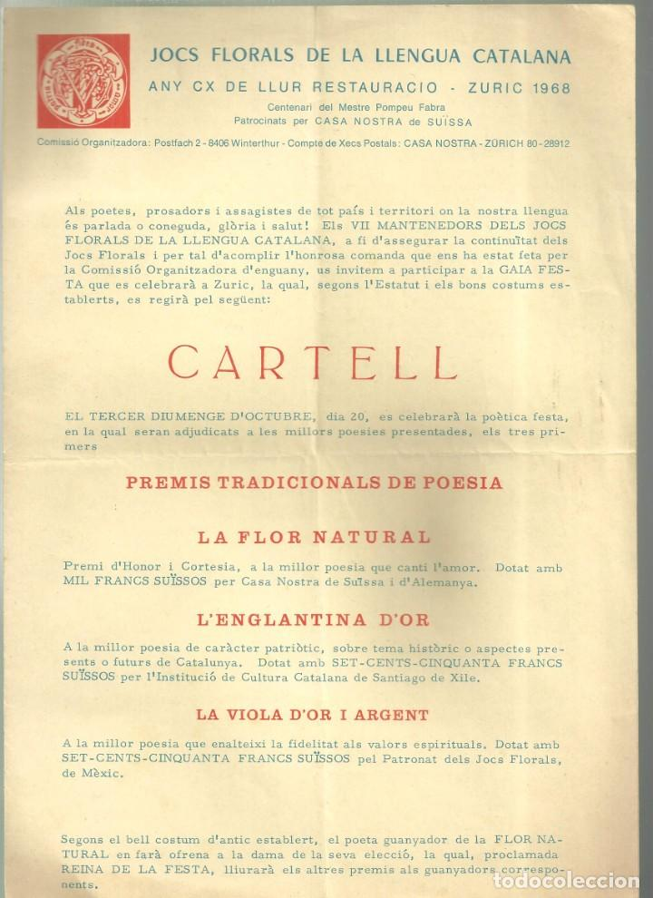 Coleccionismo: 3970.- JOCS FLORALS DE LA LLENGUA CATALANA ANY CX DE LLUR RESTAURACIO-ZURIC 1968- SUISSA - Foto 2 - 234923830