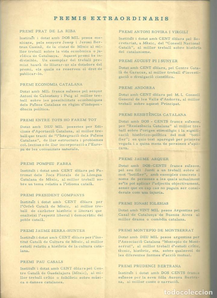 Coleccionismo: 3970.- JOCS FLORALS DE LA LLENGUA CATALANA ANY CX DE LLUR RESTAURACIO-ZURIC 1968- SUISSA - Foto 3 - 234923830