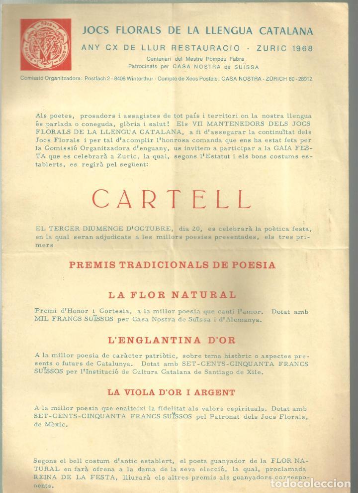 3970.- JOCS FLORALS DE LA LLENGUA CATALANA ANY CX DE LLUR RESTAURACIO-ZURIC 1968- SUISSA (Coleccionismo - Laminas, Programas y Otros Documentos)