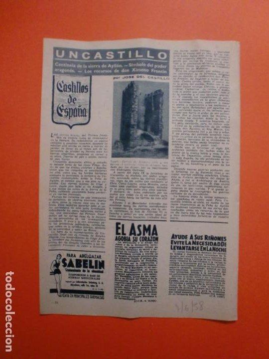 FORTALEZA DE UNCASTILLO CENTINELA DE LA SIERRA DE AYLLÓN SIMBOLO DEL PODER ARAGONES - 7/6/1958 (Coleccionismo - Laminas, Programas y Otros Documentos)