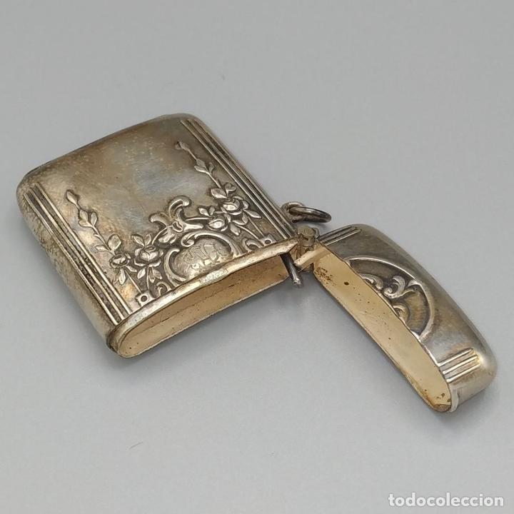 Coleccionismo: CERILLERO. METAL CHAPADO EN PLATA. ESTILO ROCOCÓ. ESPAÑA. SIGLO XIX - Foto 6 - 236382925