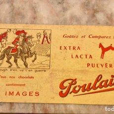 Coleccionismo: ANTIGUA PUBLICIDAD POULAIN CHOCOLAT- MALBROUGH S'EN VA T'EN GUERRE (BUVARD). Lote 236411855