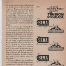 Coleccionismo: ANUNCIO PUBLICIDAD COLCHON SEMA. Lote 236789770
