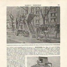 Coleccionismo: LAMINA ESPASA 30235: CONSTRUCCION DEL PASEO DEL PRADO DE MADRID. Lote 237308240