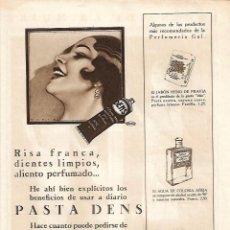 Coleccionismo: AÑO 1929 PUBLICIDAD PRODUCTOS PERFUMERIA GAL DENTIFRICO PASTA DENS HENO DE PRAVIA COLONIA AÑEJA. Lote 238566500