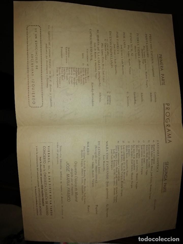 Coleccionismo: Programa diptico ballet pilar López con José greco años 50 - Foto 2 - 191295365