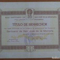 Coleccionismo: TITULO DE BIENHECHOR SANTUARIO SAN JOSE DE LA MONTAÑA BARCELONA 1943. Lote 241383635