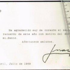 Coleccionismo: 1969 TARJETÓN DE AGRADECIMIENTO POR EL DÍA DE SU SANTO DE DON JUAN DE BORBÓN, ESTORIL, JULIO DE 1969. Lote 241639480