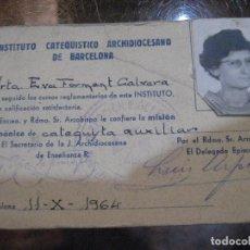 Coleccionismo: CARNET INSTITUTO CATEQUISTICO ARCHIDIOCESANO DE BARCELONA AÑO 1964 RELIGIOSO CATEQUESIS. Lote 242039400