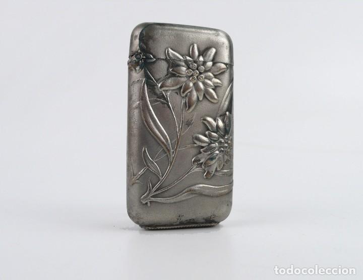 Coleccionismo: Mistera, caja de cerillas - metal y baño de plata - Art Nouveau Ca.1900 - Foto 2 - 242895835