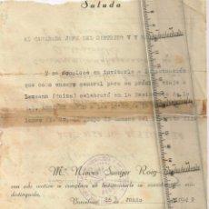 Coleccionismo: 1949 SALUDA, DE MARÍA NIEVES SUNYER ROIG, AL CAMARADA JEFE DEL DISTRITO V Y SRA.. Lote 242908660