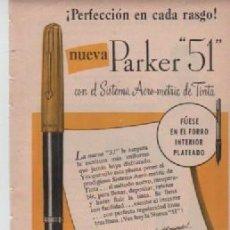 Coleccionismo: ANUNCIO PUBLICIDAD ESTILOGRAFICAS PARKER -CREMA DE AFEITAR WILLIAMS PANCHO SEGURA. Lote 243149070