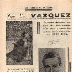 Coleccionismo: HOJA DE PUBLICACIÓN, AÑOS 50, PEPE LUIS VAZQUEZ. Lote 243871580