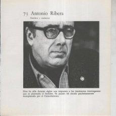 Coleccionismo: FICHA 073: ANTONIO RIBERA: ESCRITOR Y TRADUCTOR. Lote 243933640