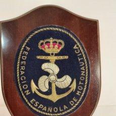 Coleccionismo: PLAFON FEDERACION ESPAÑOLA DE MOTONAUTICA BORDADO. Lote 244024060