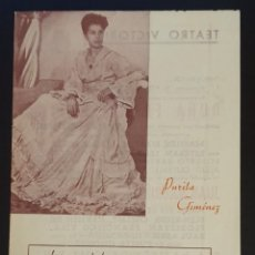 Coleccionismo: TEATRO VICTORIA - PURITA GIMENEZ - 7 DE OCTUBRE DE 1944.. Lote 244942190