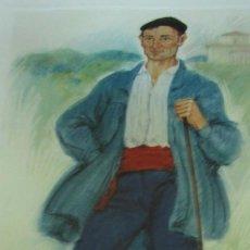 Coleccionismo: + TIPOS VASCOS LAMINA GRAN TAMAÑO 34 X 47 CM ALDEANO FIMADA POR LAFUENTE. Lote 244950450