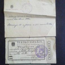 Coleccionismo: TRES ENTRADAS TEATRO ESPAÑOL. MADRID. Lote 245200775