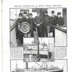 Coleccionismo: AÑO 1913 RECORTE PRENSA BARCO NUEVO VAPOR DE LA COMPAÑIA MALA REAL INGLESA. Lote 245464710