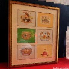 Coleccionismo: CUADRO DE PEGATINAS COLECCION DE LAS MARCA DE PUROS. Lote 246117560