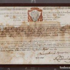 Coleccionismo: ANTIGUO TÍTULO EN LATÍN AÑO 1805. Lote 246158245