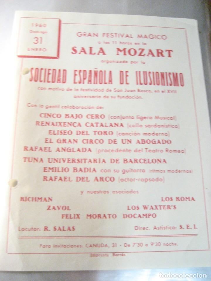 Coleccionismo: 2 programa sociedad española de ilusionismo . magia . festival magico - 1963 -60 - Foto 2 - 247106120