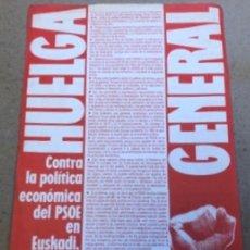 Coleccionismo: FOLLETO DE LA HUELGA GENERAL CONVOCADA POR HERRI BATASUNA EL 14/12/1988, CONTRA LA POLÍTICA ECONÓMIC. Lote 140861090