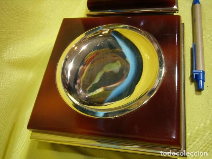 Coleccionismo: Juego fumador metraquilato marrón filo dorado, años 70, Nuevo sin usar. - Foto 2 - 247486505