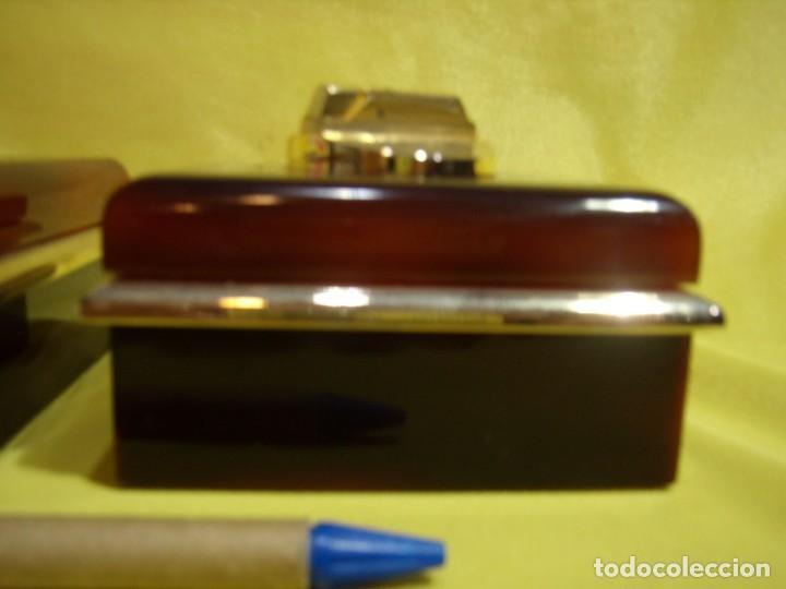 Coleccionismo: Juego fumador metraquilato marrón filo dorado, años 70, Nuevo sin usar. - Foto 4 - 247486505