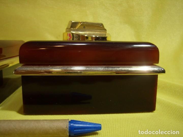 Coleccionismo: Juego fumador metraquilato marrón filo dorado, años 70, Nuevo sin usar. - Foto 5 - 247486505