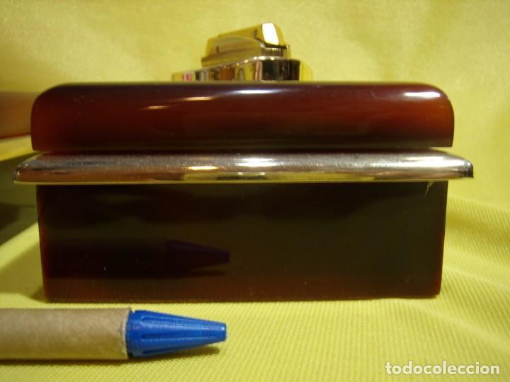 Coleccionismo: Juego fumador metraquilato marrón filo dorado, años 70, Nuevo sin usar. - Foto 6 - 247486505