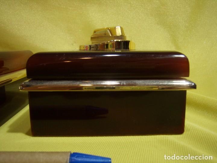 Coleccionismo: Juego fumador metraquilato marrón filo dorado, años 70, Nuevo sin usar. - Foto 8 - 247486505
