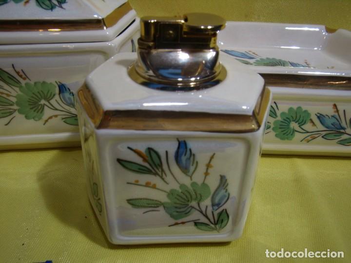 Coleccionismo: Juego fumador cerámica, pintado a mano, años 80, Nuevo sin usar. - Foto 2 - 247495355