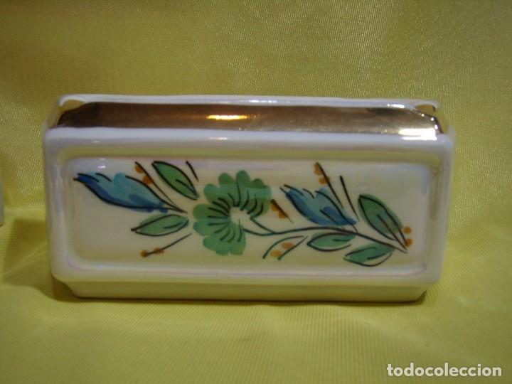 Coleccionismo: Juego fumador cerámica, pintado a mano, años 80, Nuevo sin usar. - Foto 6 - 247495355