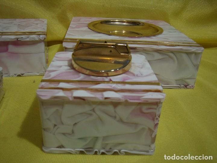 Coleccionismo: Juego fumador metraquilato rosa, con 6 posavasos, años 80, Nuevo sin usar. - Foto 2 - 247498905