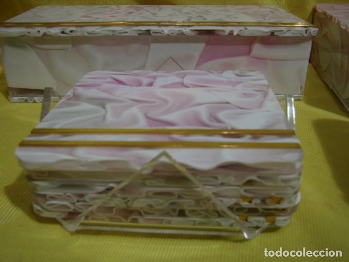Coleccionismo: Juego fumador metraquilato rosa, con 6 posavasos, años 80, Nuevo sin usar. - Foto 3 - 247498905