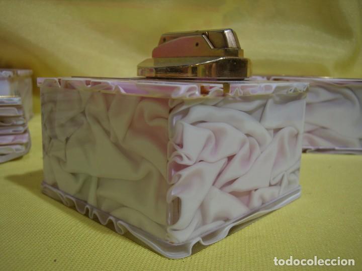 Coleccionismo: Juego fumador metraquilato rosa, con 6 posavasos, años 80, Nuevo sin usar. - Foto 13 - 247498905