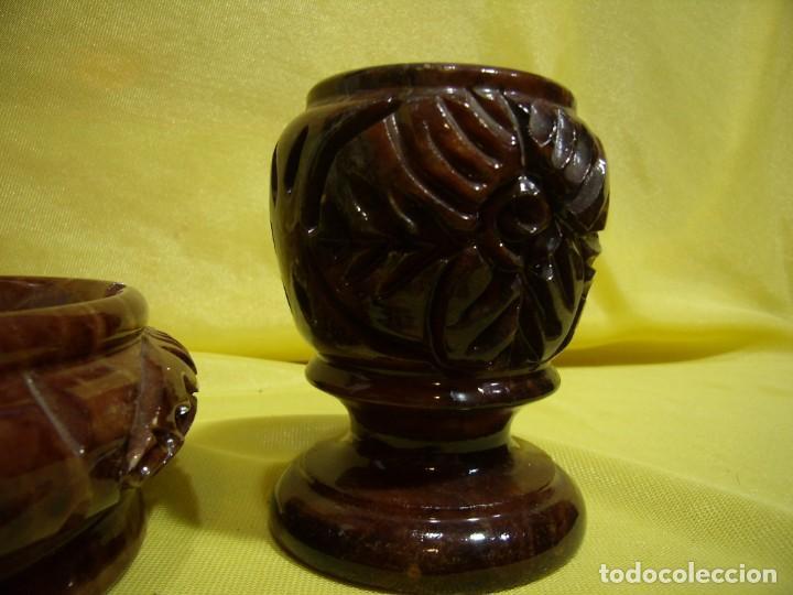 Coleccionismo: Juego fumador alabastro marrón de alabastros San José, años 70, Nuevo sin usar. - Foto 3 - 247499820