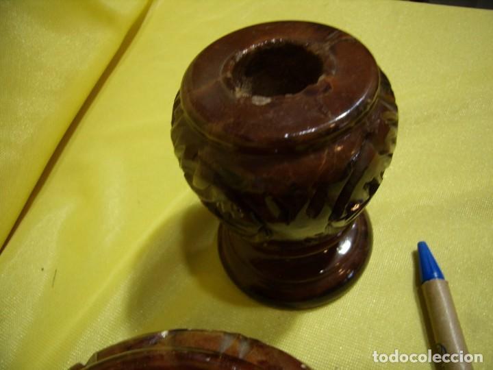 Coleccionismo: Juego fumador alabastro marrón de alabastros San José, años 70, Nuevo sin usar. - Foto 6 - 247499820